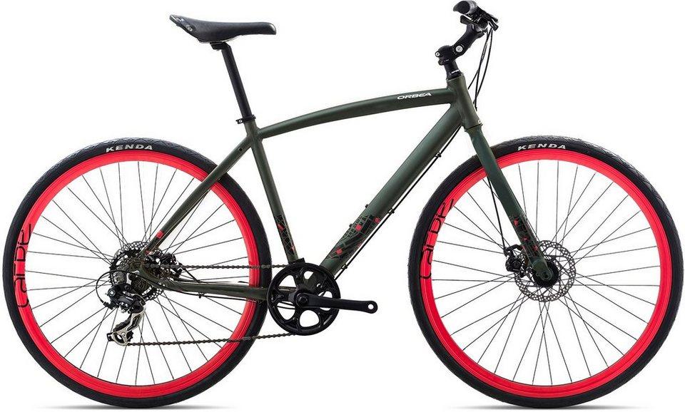ORBEA Fitnessbike, 28 Zoll, 7 Gang Shimano TY300 Kettenschaltung, »Carpe 40« in grün-rot