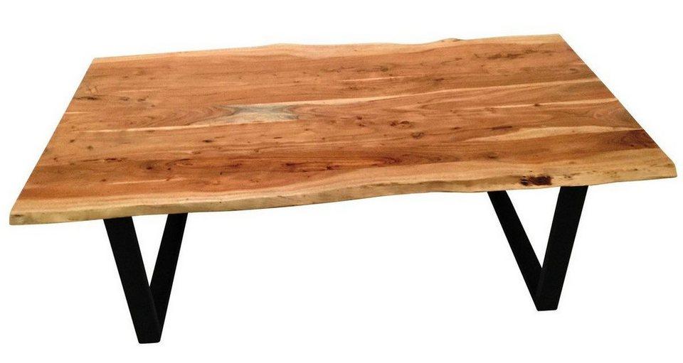 Kasper-Wohndesign Esstisch aus massiver Akazie mit Baumkante Fuß schwarz »LORE« in 160 x 85 cm
