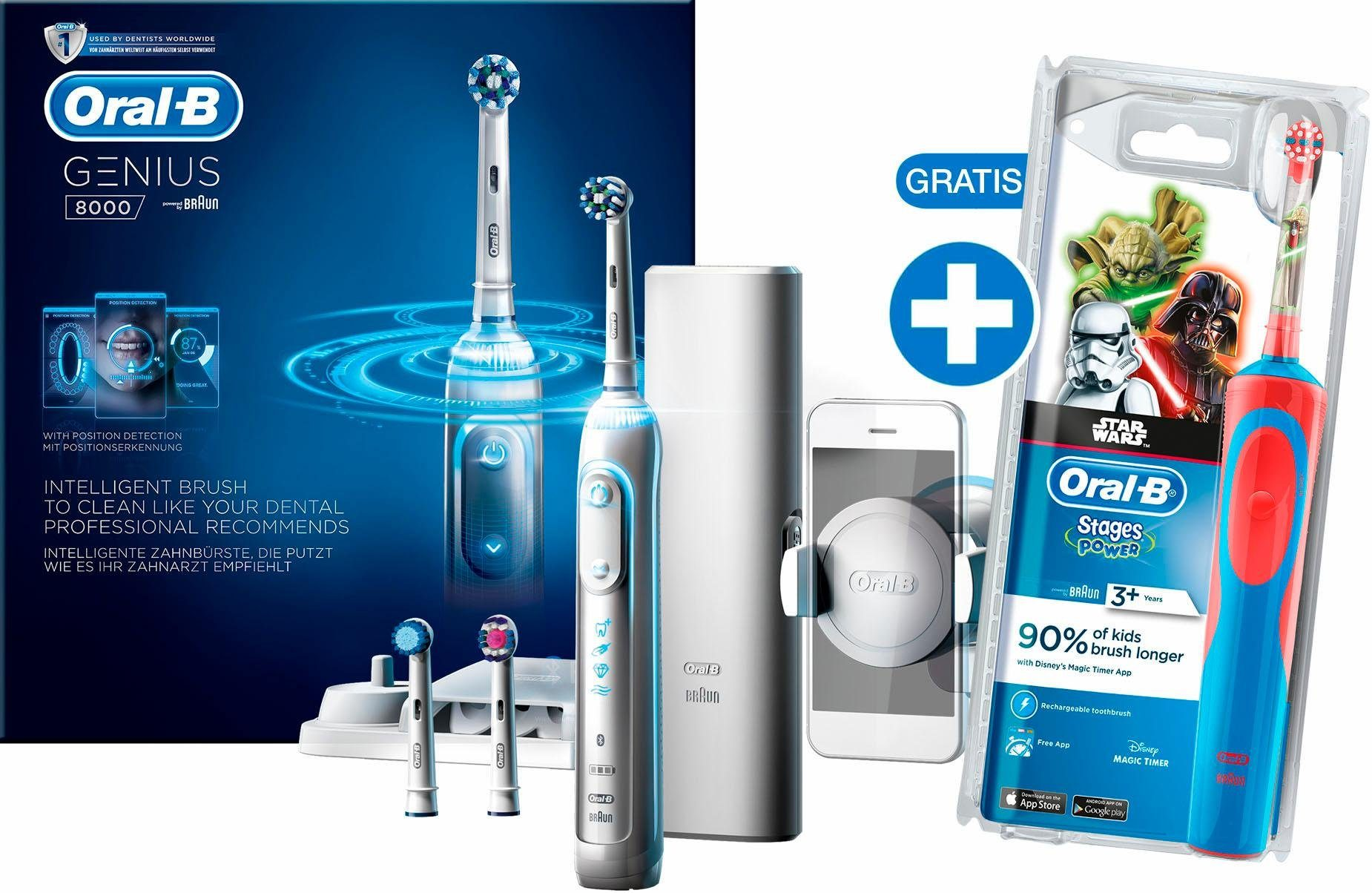 Oral-B Elektrische Zahnbürste Genius 8000, inklusive gratis Stages Power Kids Star Wars Zahnbürste