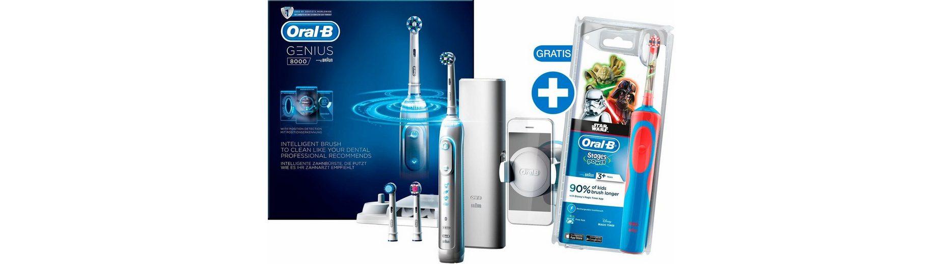 Oral-B Elektrische Zahnbürste Genius 8000, inklusive gratis Stages Power Kids Star Wars Zahnbürste