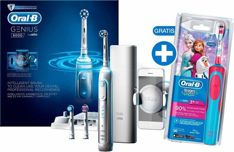 Oral-B Elektrische Zahnbürste Genius 8000, inklusive gratis Stages Power Kids Frozen Zahnbürste