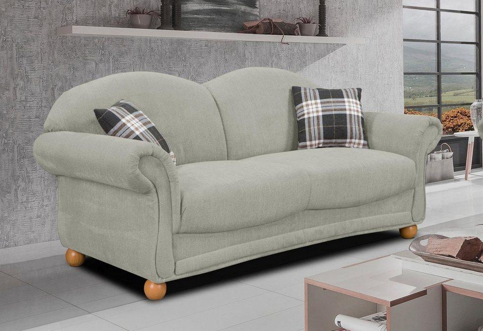 Home affaire 3-Sitzer »Florenz«, im Retrostyle mit Holzfüßen in grau