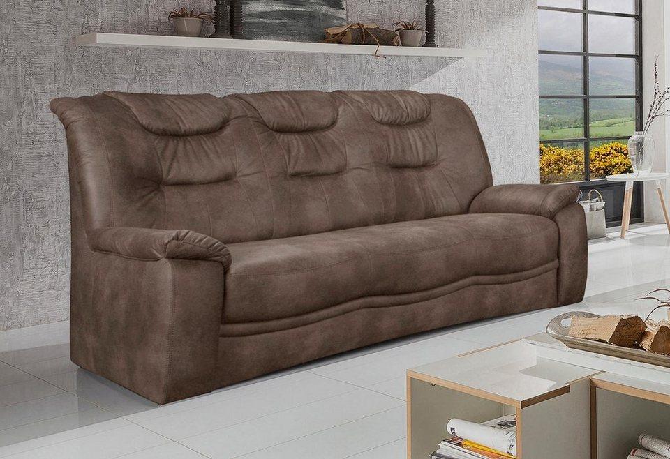 Home affaire 3 Sitzer »Grande«, in klassischem Design, mit Federkern in hellbraun