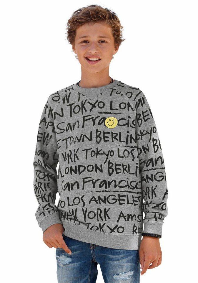 s.Oliver RED LABEL Junior Sweatshirt mit Alloverdruck in grau-meliert