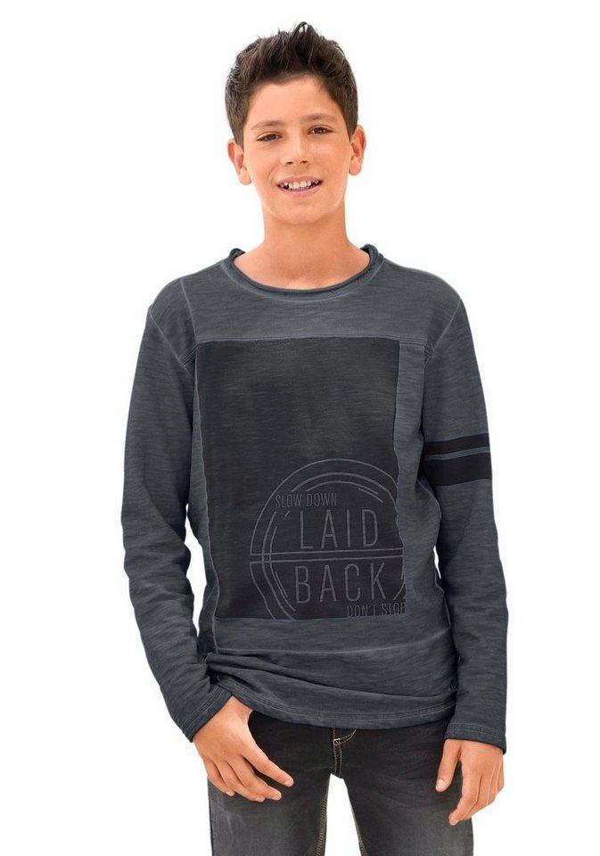 s.Oliver RED LABEL Junior Sweatshirt mit coolen Wascheffekten in schwarz