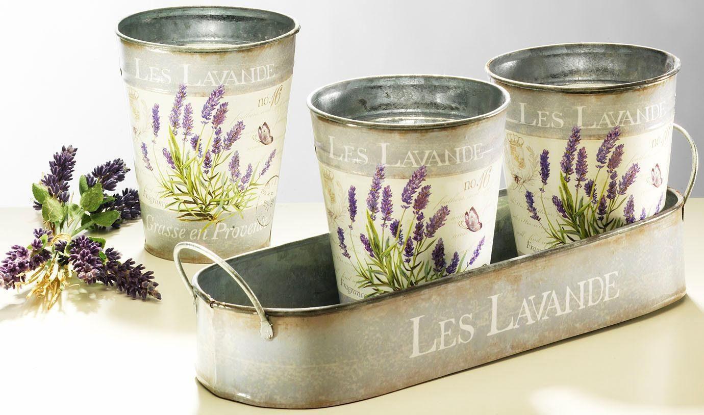 Home affaire Tablett mit 3 Töpfen »Lavendel«