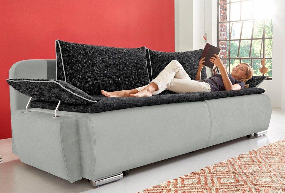 Schlafsofa mit Boxspring-Aufbau, als Dauerschläfer geeignet in silbergrau/schwarz