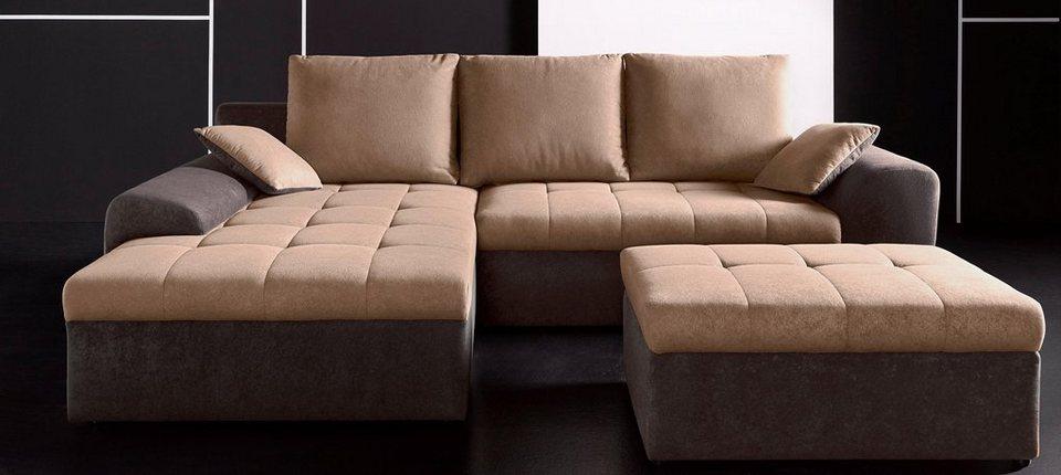 INOSIGN XL Polsterecke, wahlweise mit Bettfunktion und Bettkasten in dunkelbraun/braun