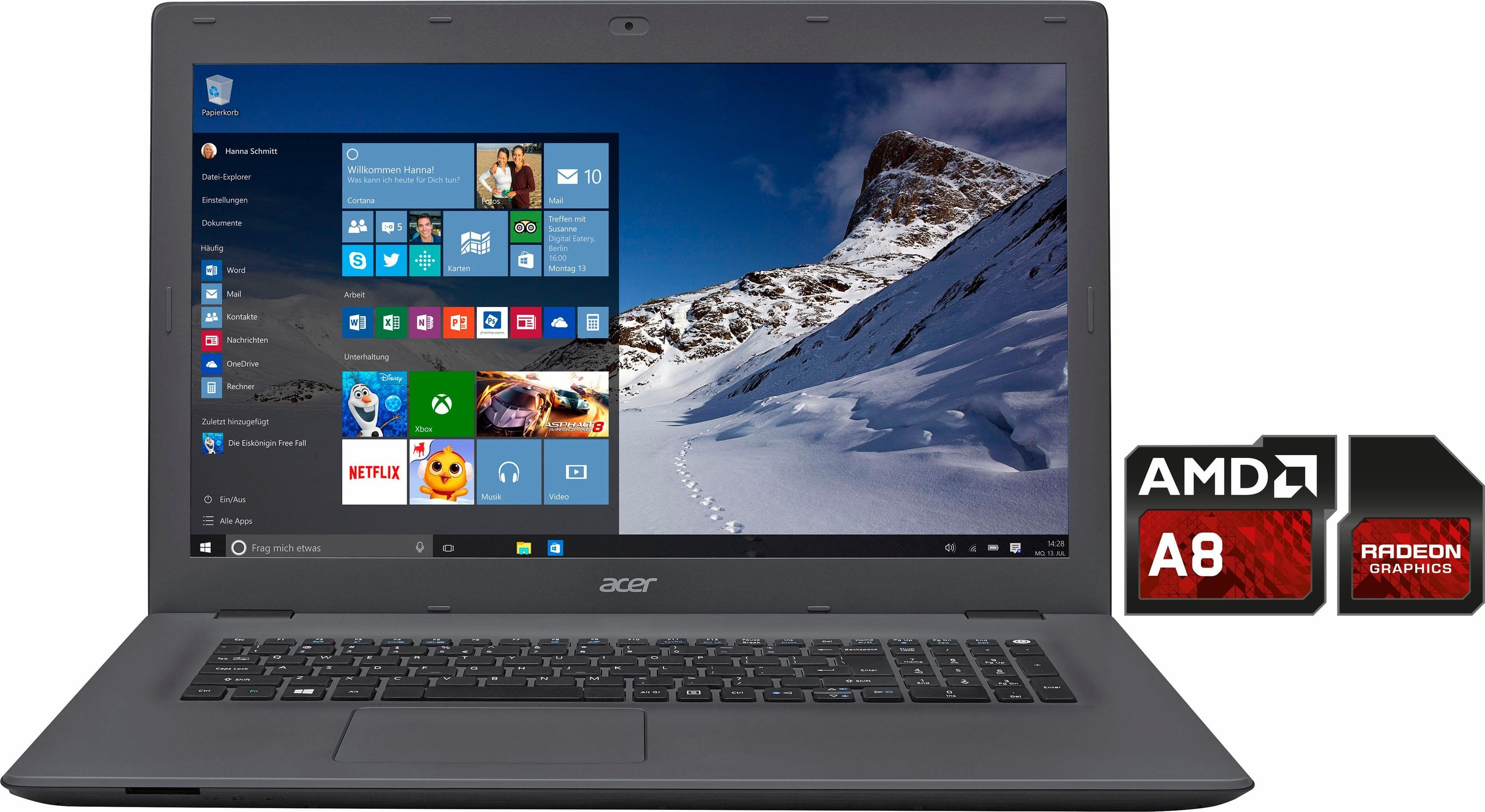 Acer Aspire E5-722-89L4 Notebook, AMD A8, 43,9 cm (17,3 Zoll), 1000 GB Speicher, 8192 MB DDR3L