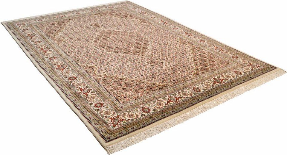 Orient-Teppich, Theko, »Mahi Tabriz«, reine Schurwolle, handgeknüpft in creme