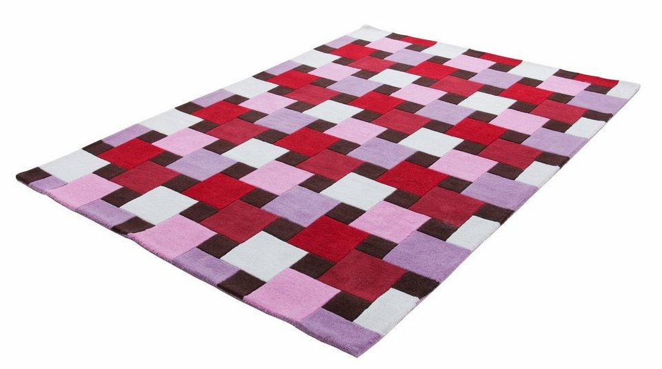 Teppich, Theko, »Kongo 6831«, reine Schurwolle, handgetuftet in rose multi