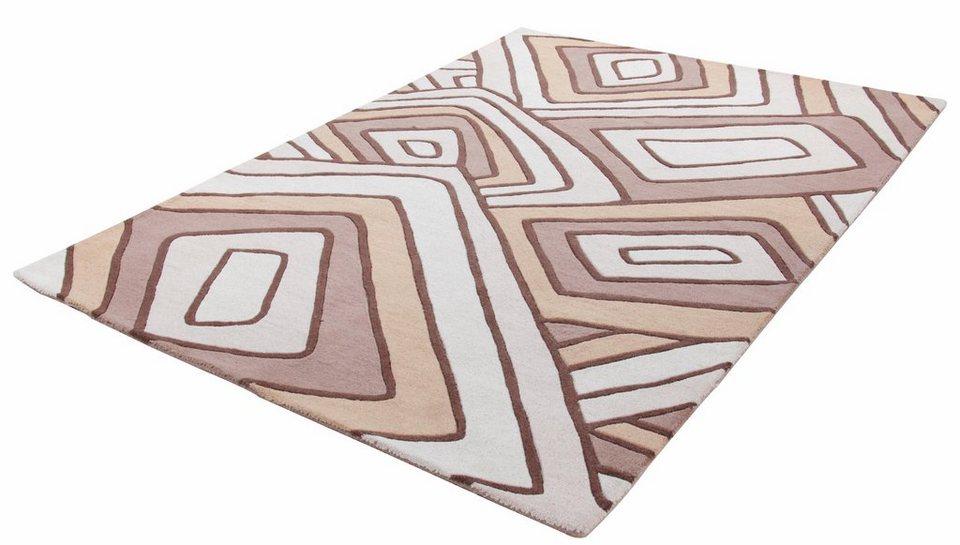 Teppich, Theko, »Kongo 6839«, reine Schurwolle, handgetuftet in beige