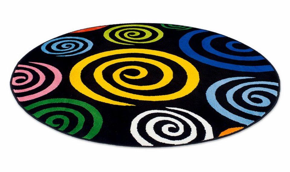 Teppich, rund, Theko, »Magic Colour 560« in schwarz bunt