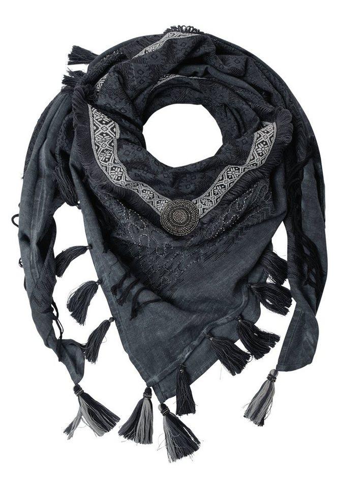 CECIL Tuch mit Perlen in dark silver