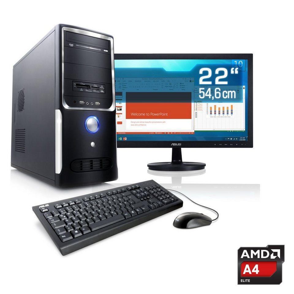 "CSL Office PC Set | A4-5300 | Radeon HD 7480D | 4 GB RAM | 22"" TFT »Sprint T2416 Windows 10 Home« in schwarz"