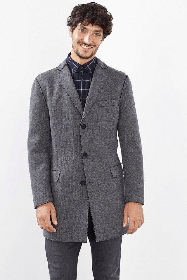 ESPRIT COLLECTION Blazer Mantel aus offenkantigem Strick in DARK GREY
