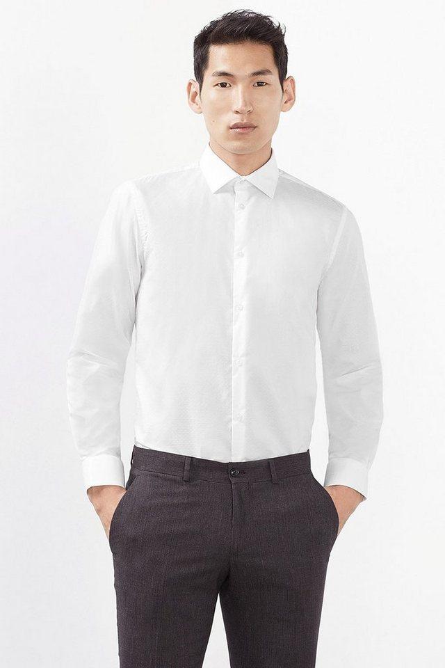 ESPRIT COLLECTION Baumwoll Hemd mit feinem Strukturmuster in WHITE