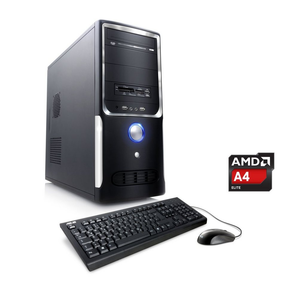 CSL Office PC   AMD A4-5300   Radeon HD 7480D   4 GB RAM   WLAN »Sprint T2413 Windows 7 Pro« in schwarz