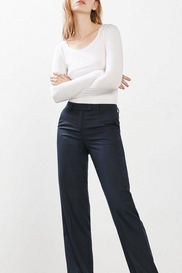 ESPRIT CASUAL Lässige Stretch-Hose mit weitem Bein in NAVY
