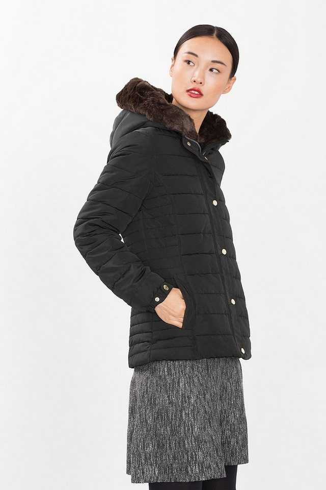ESPRIT COLLECTION Wattierte Steppjacke mit Webfell in BLACK