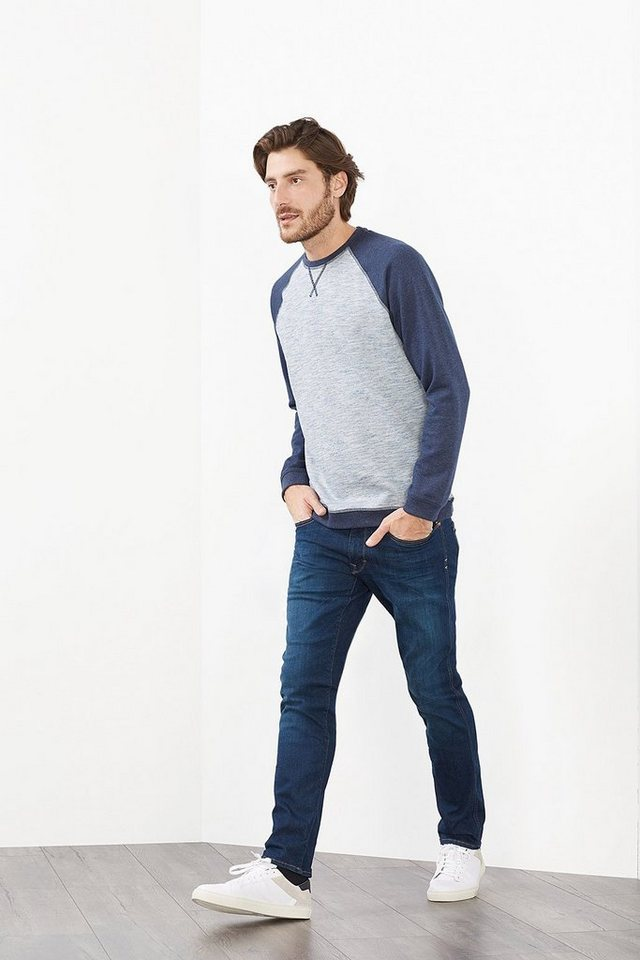 EDC Colorblock Sweatshirt, Baumwoll-Mix in NAVY