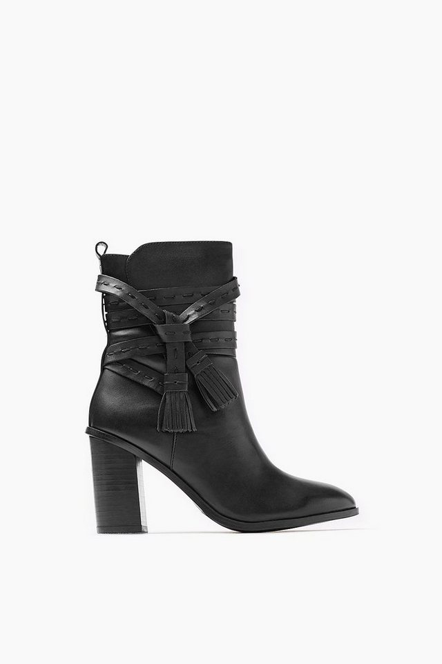 ESPRIT CASUAL Fashion Leder Bootie mit Wickelriegel in BLACK
