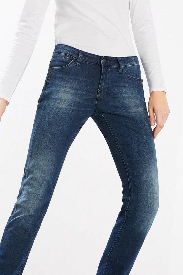 EDC Jeans mit formenden Abnähern in BLUE MEDIUM WASHED
