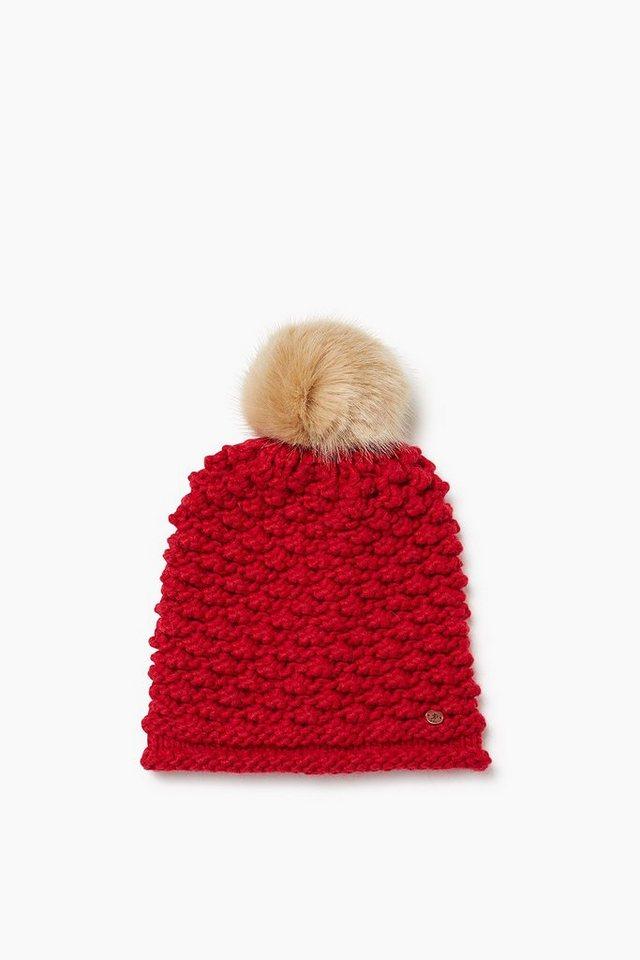 EDC Wollene Mütze mit Webfell-Pompon in DARK RED