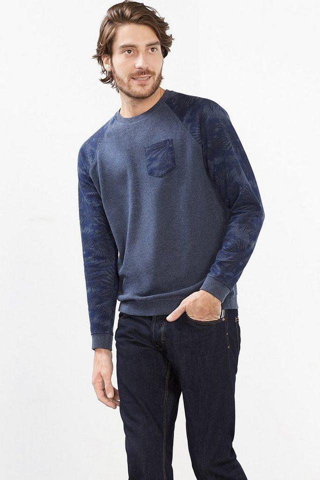 EDC Sweatshirt mit Print, Baumwoll-Mix in NAVY
