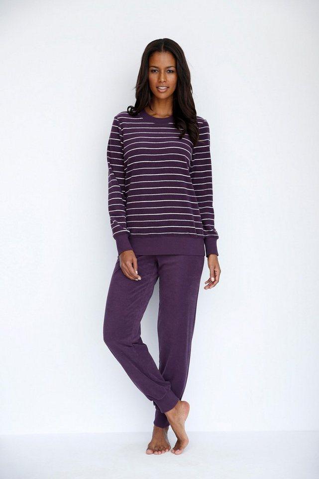 SCHIESSER Frottee-Pyjama mit geringeltem Oberteil in aubergine
