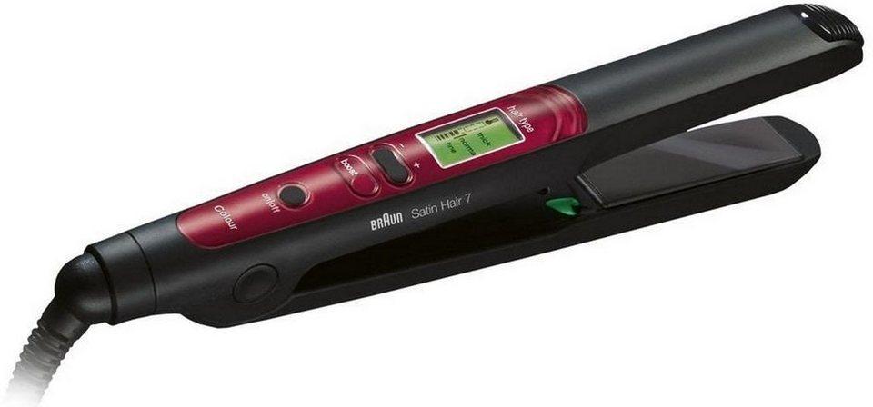 Braun, Haarglätter ST 750 Satin Hair 7, mit IONTEC & Colour Saver in schwarz/rot