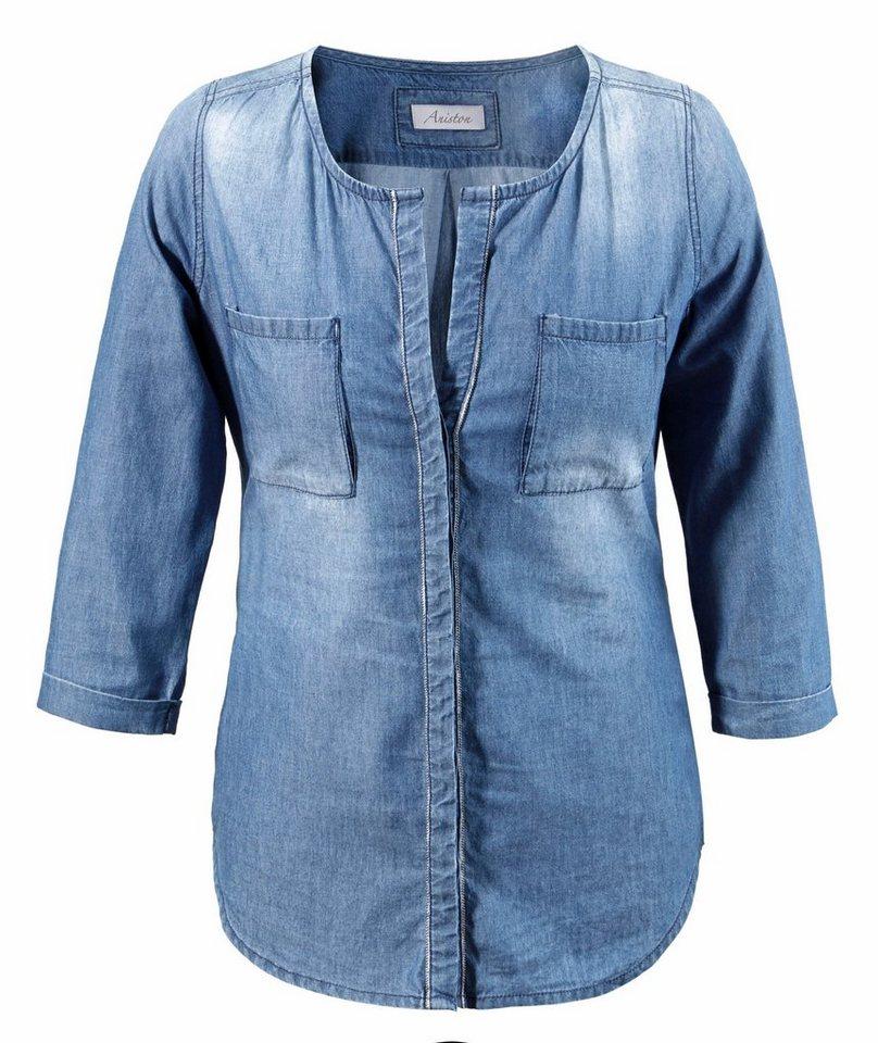 Aniston Jeansbluse mit Verzierung in blue