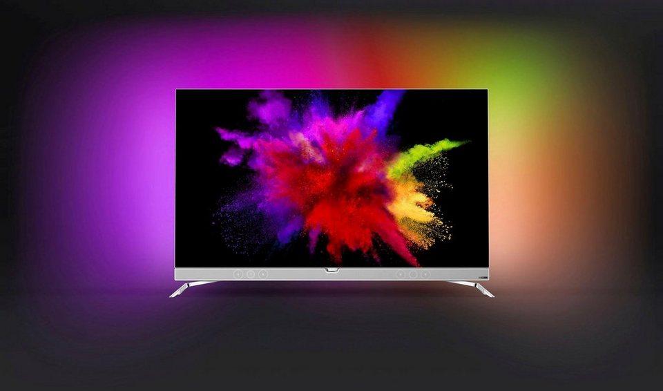 Philips 55POS901F/12, OLED Fernseher, 139 cm (55 Zoll), 2160p (4K Ultra HD) Ambilight, Smart-TV in silberfarben