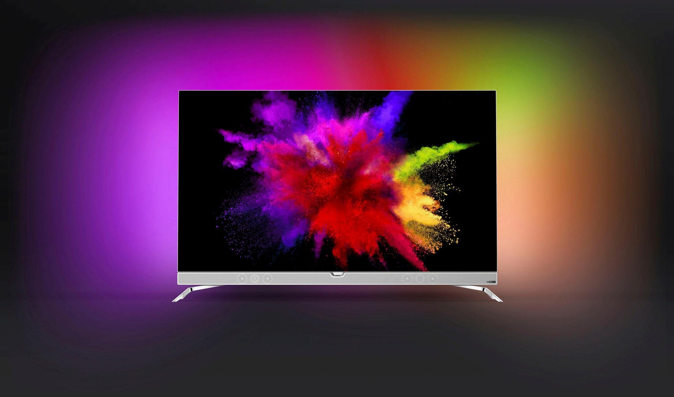 Philips 55POS901F/12, OLED Fernseher, 139 cm (55 Zoll), 2160p (4K Ultra HD) Ambilight, Smart-TV