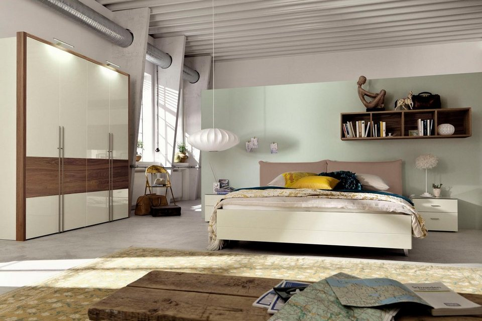 now by h lsta bett now no 14 mit polsterkopfteil in kunstleder wei oder taupe online. Black Bedroom Furniture Sets. Home Design Ideas