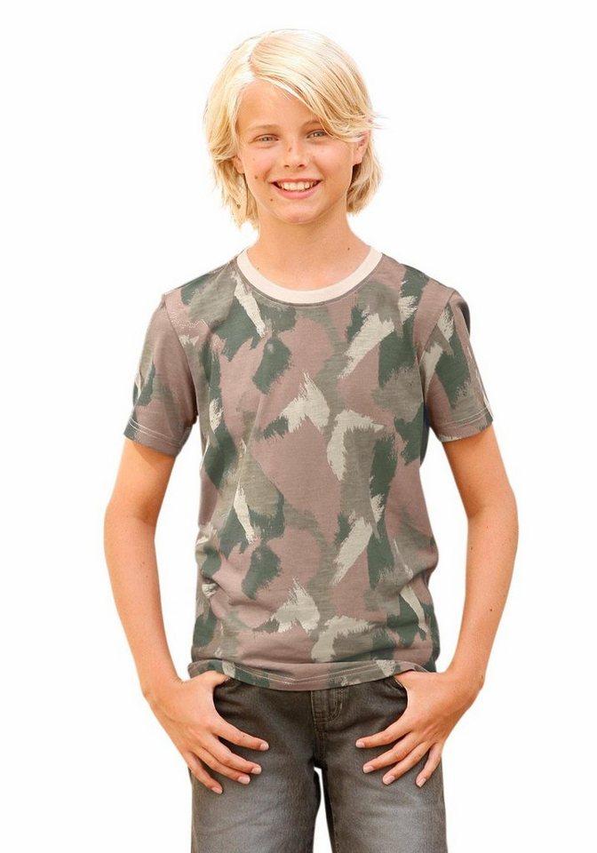 Buffalo T-Shirt allover bedruckt in khaki-gemustert