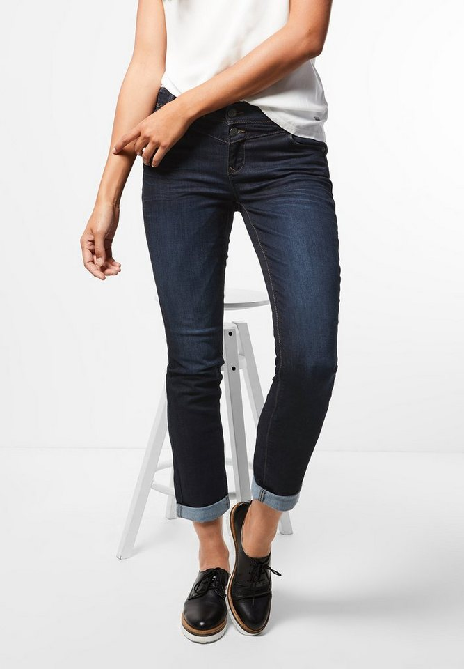 Street One Dunkle Casual Fit Denim Jane in dark blue overdyed