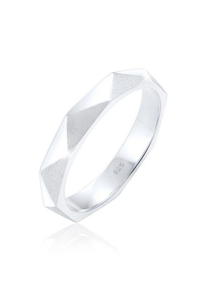 Elli Ring »Hexagon Geo Minimal glänzend brushed 925 Silber« in Silber