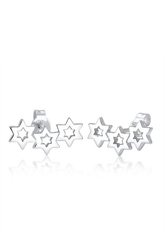 Elli Ohrringe »Sterne Astro Earcuff 925 Silber« in Silber