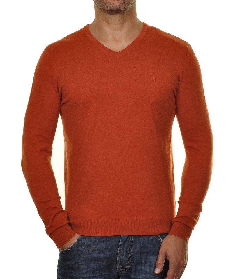 Ragman V-Ausschnitt-Pullover in rostrot