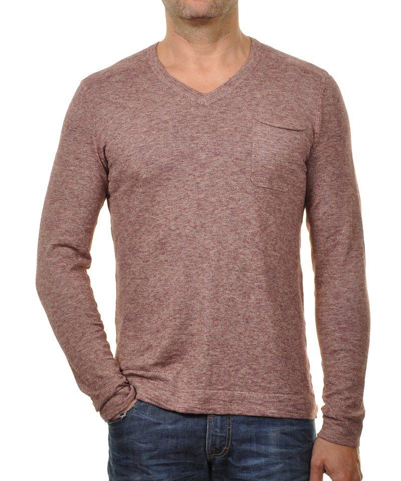 Ragman V-Ausschnitt-Pullover in himbeere