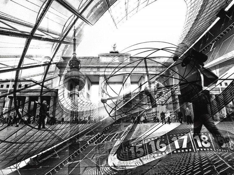 Artland Poster oder Leinwandbild »Städte Deutschland Berlin Digitale Kunst s/w« in Schwarz/Weiß