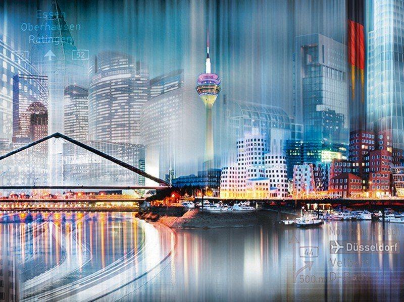 Artland Poster oder Leinwandbild »Städte Deutschland Düsseldorf Digitale Kunst Blau« in Blau