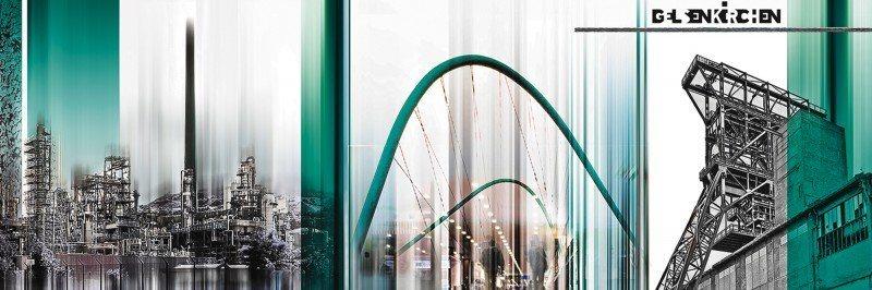 Artland Poster oder Leinwandbild »Architektur Gebäude Digitale Kunst Türkis« in Türkis