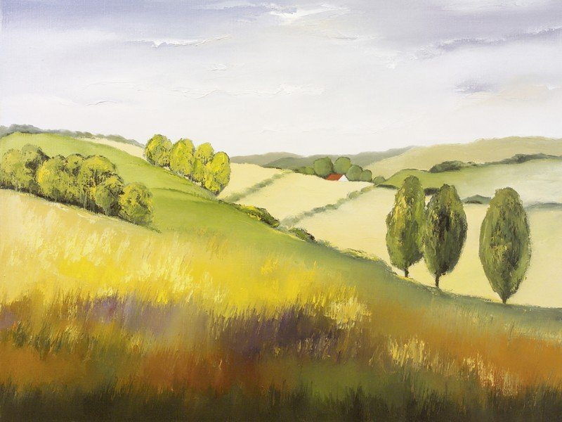 Artland Poster oder Leinwandbild »Landschaften Felder Malerei Gelb« in Gelb