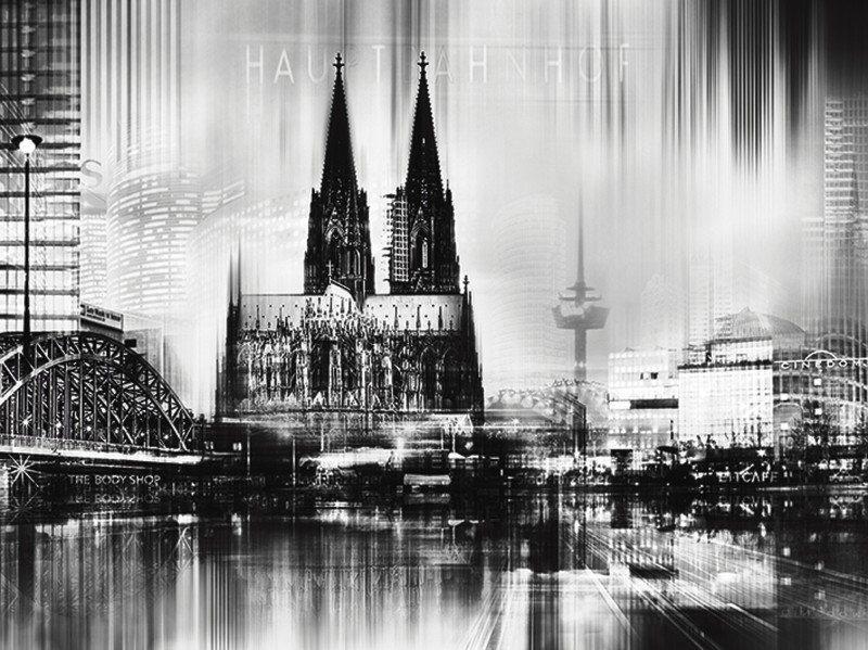 Artland Poster oder Leinwandbild »Städte Deutschland Köln Digitale Kunst s/w« in Schwarz/Weiß