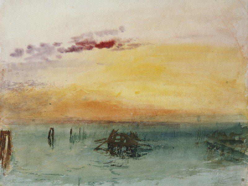 Artland Poster oder Leinwandbild »Landschaften Gewässer Malerei Orange« in Orange