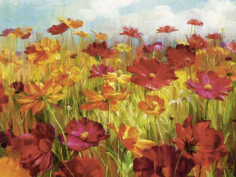 Artland Poster oder Leinwandbild »Botanik Blumen Malerei Rot« in Rot