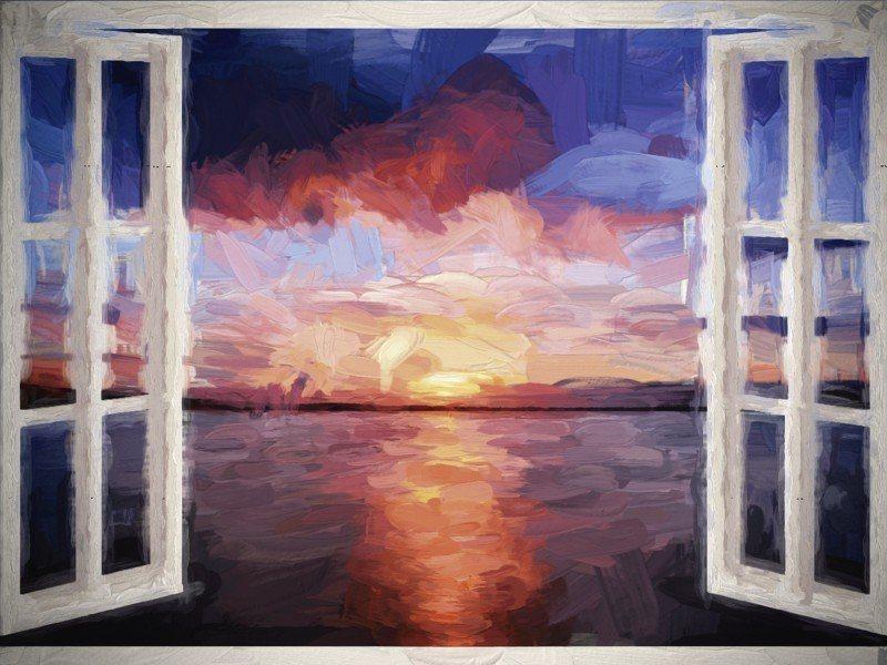 Artland Poster oder Leinwandbild »Landschaften Fensterblick Malerei Blau« in Blau