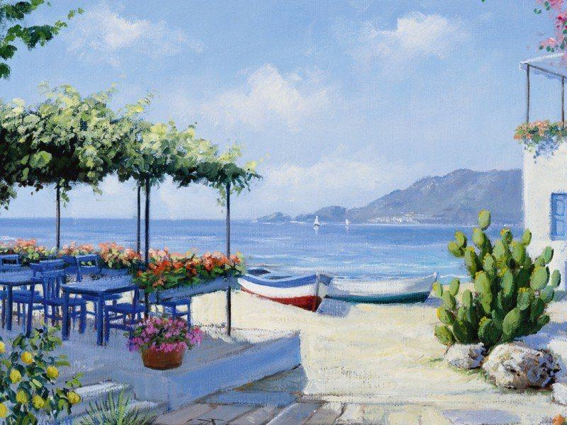 Artland Poster oder Leinwandbild »Landschaften Gewässer Malerei Blau« in Blau